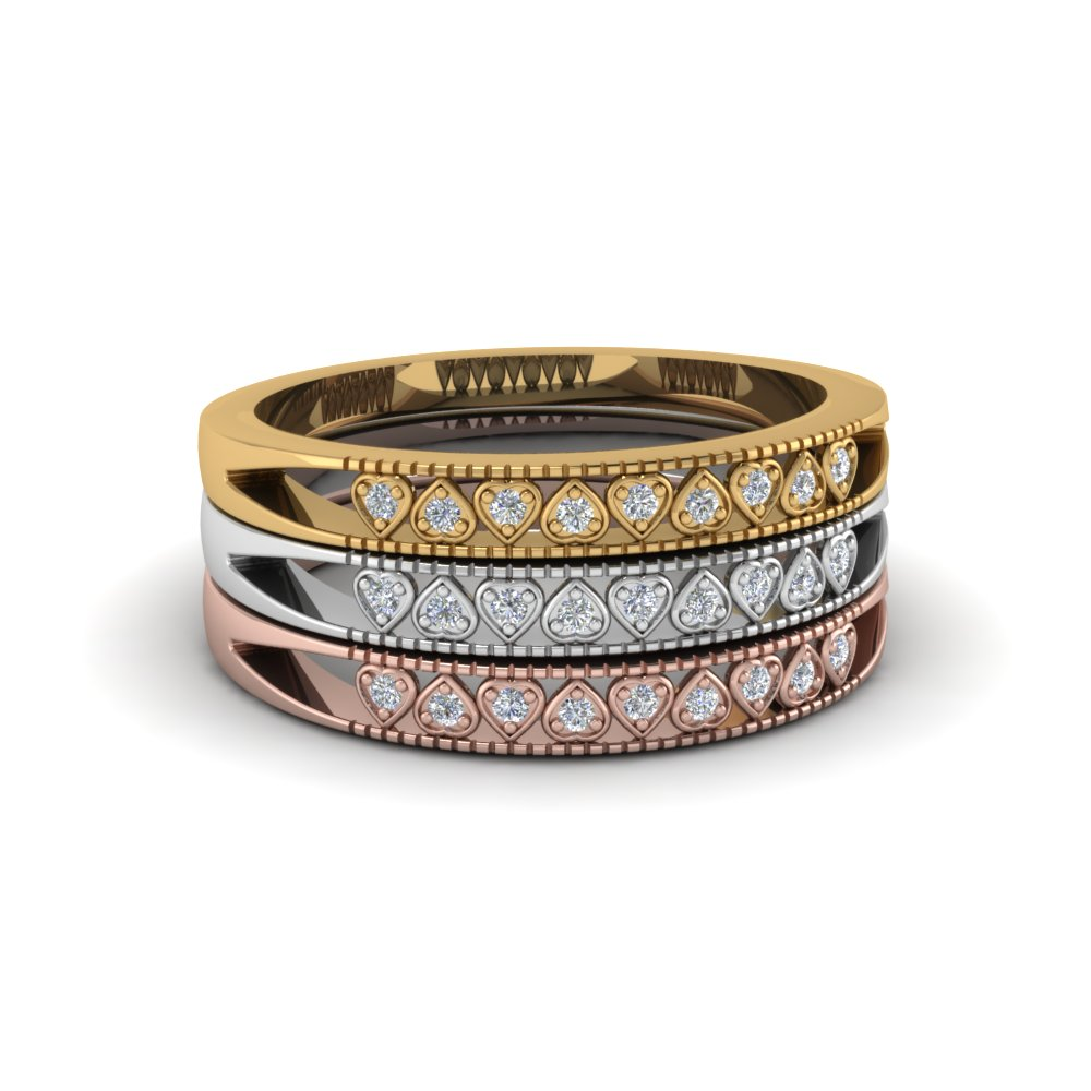 Tri Color Heart Design Diamond Stack Rings