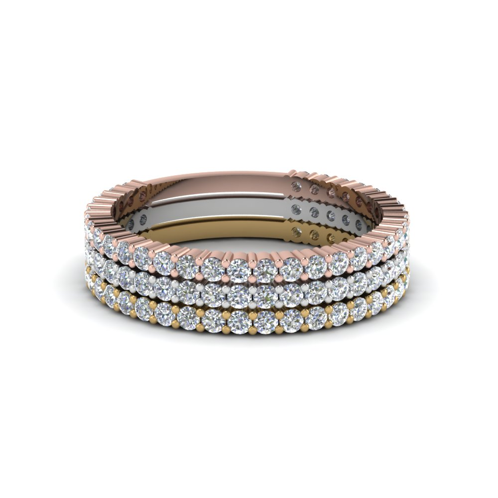 Tri Color Stackable Diamond Rings For Female