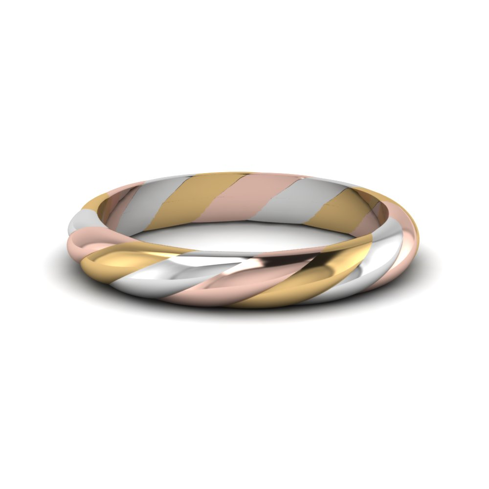 Tri Tone Twisted Rope Women Wedding Band In 14k White Gold
