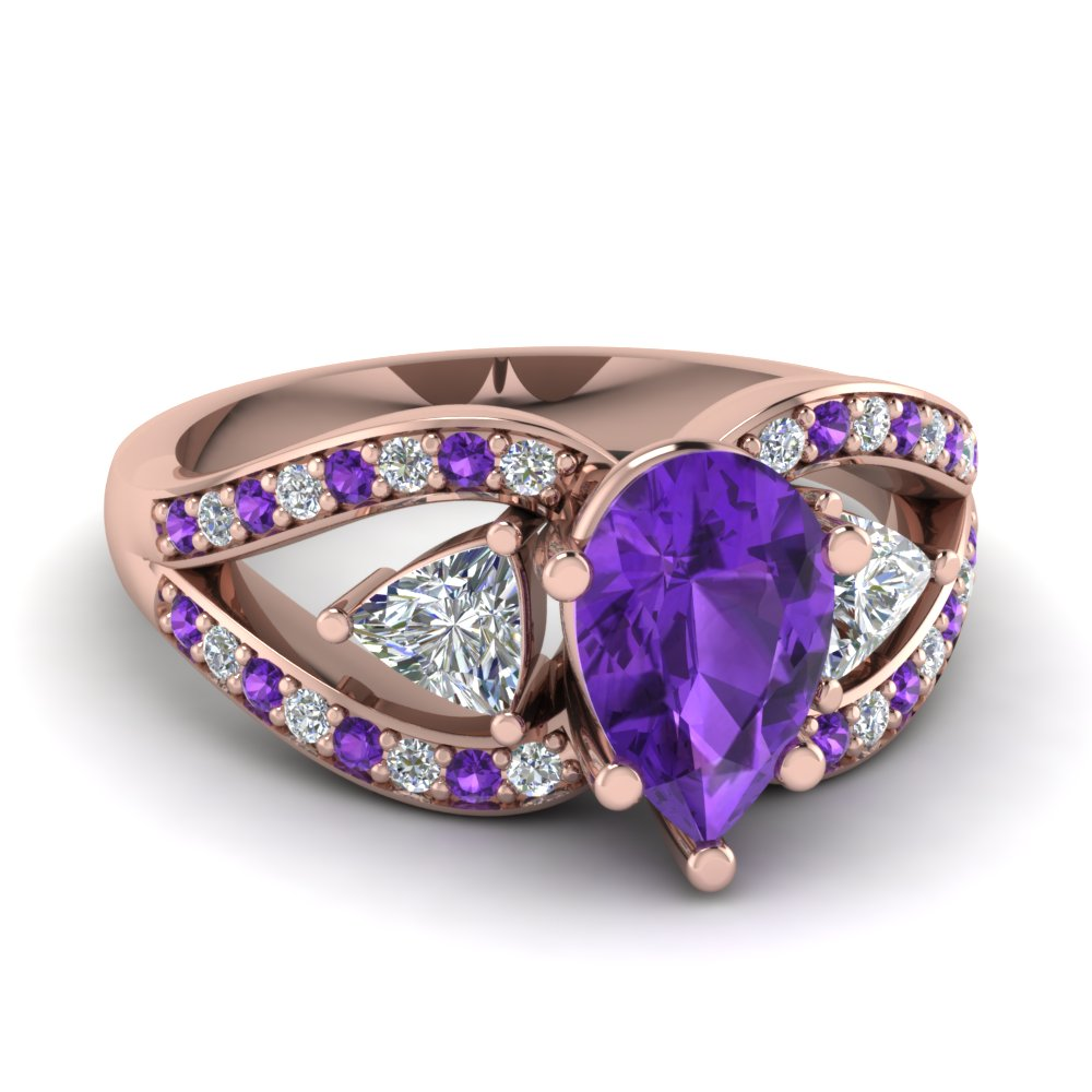 Purple Topaz 3 Stone Trillion Ring