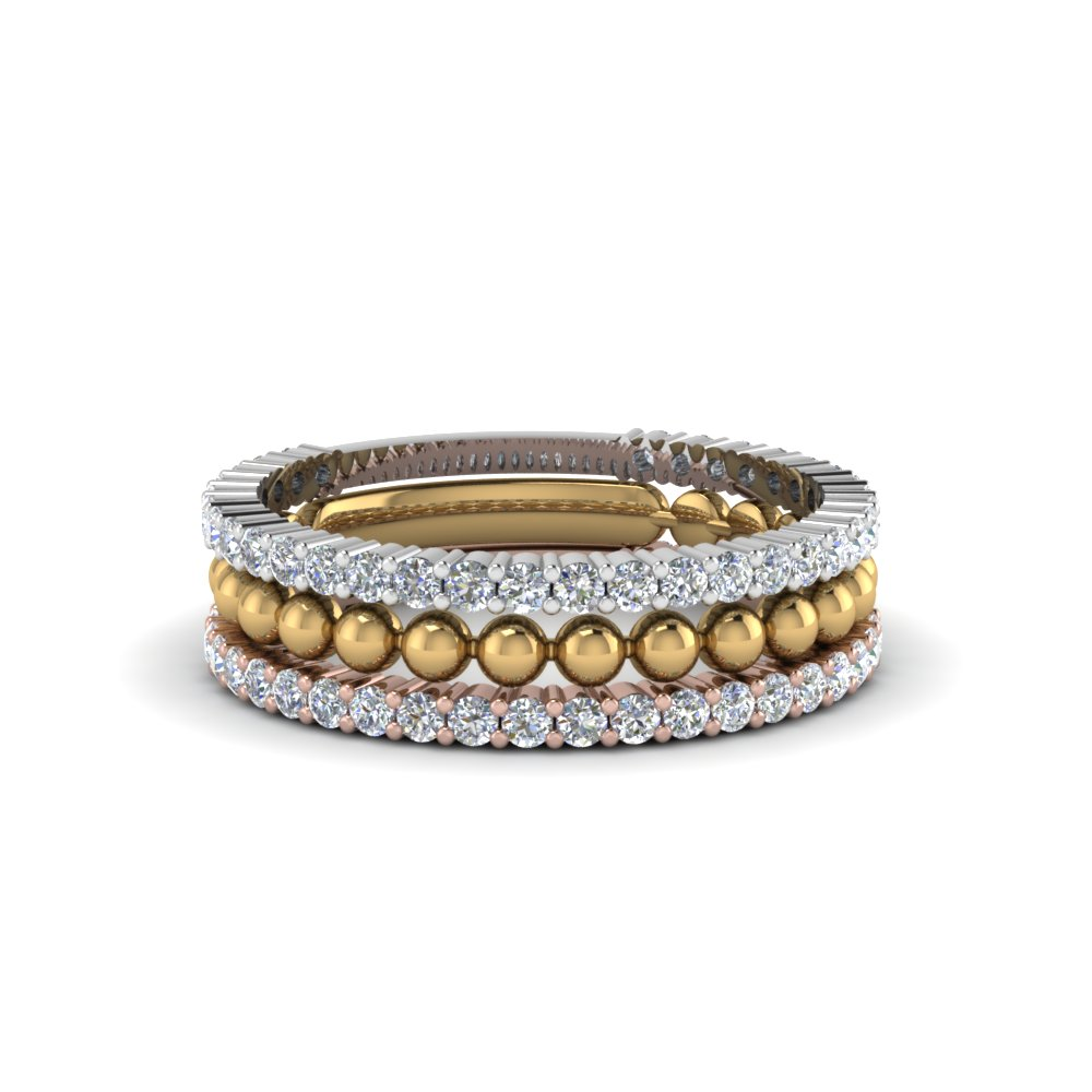 Trio Gold Bead Stacked Diamond Ring