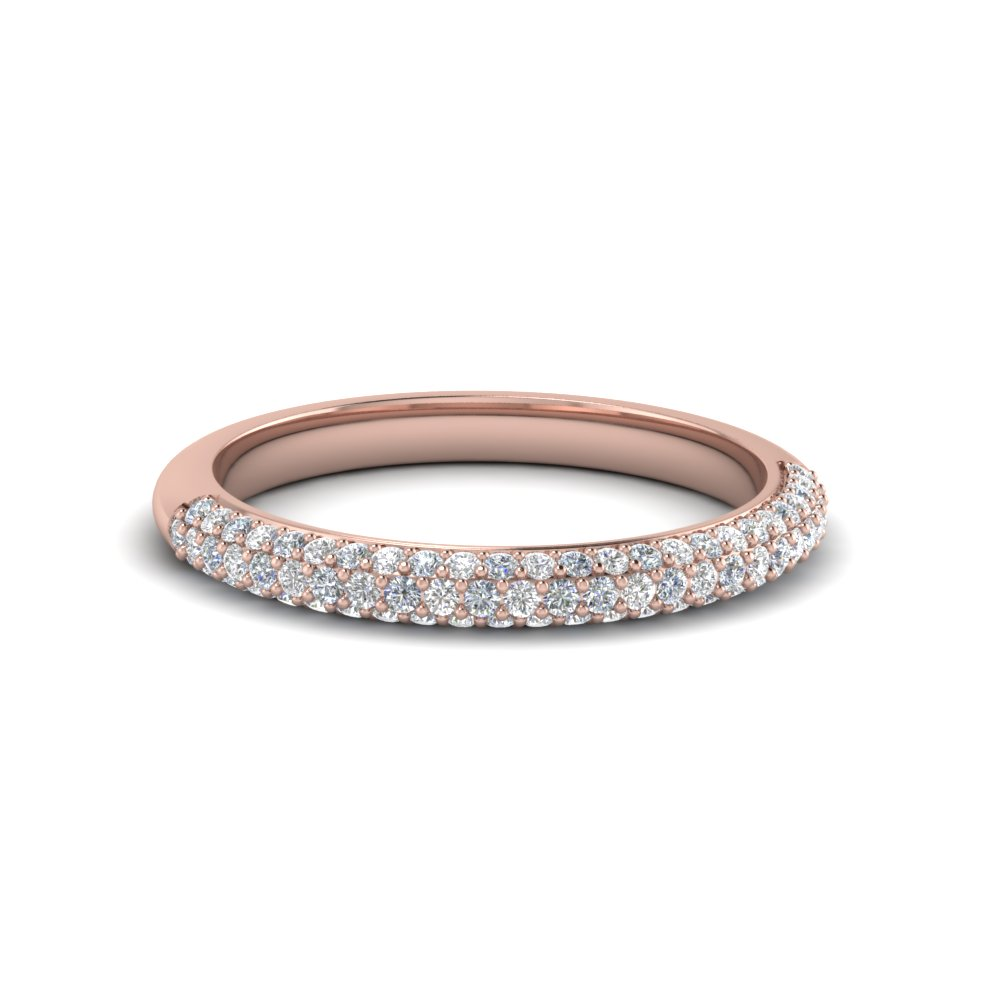trio micropave diamond womens wedding band in 14K rose gold FD68373B NL RG