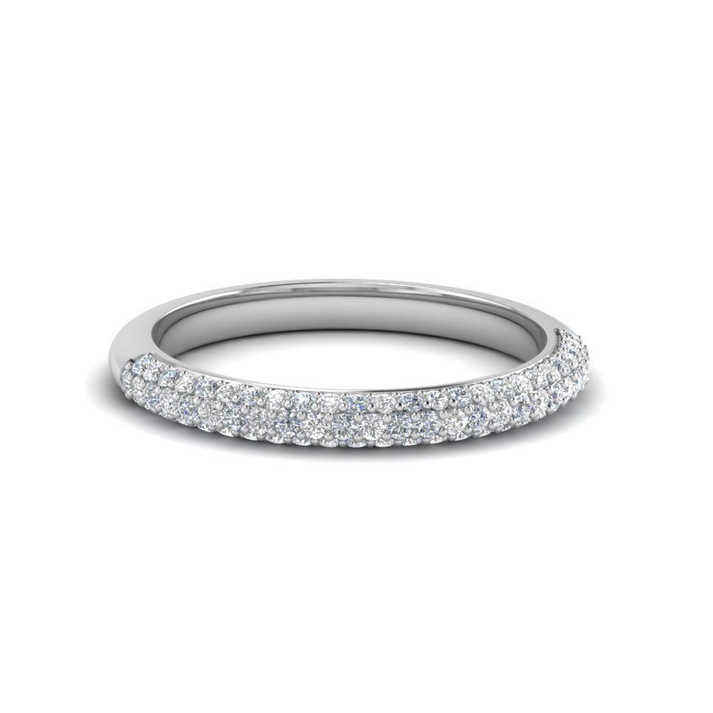trio micropave diamond womens wedding band in 950 platinum FD68373B NL WG