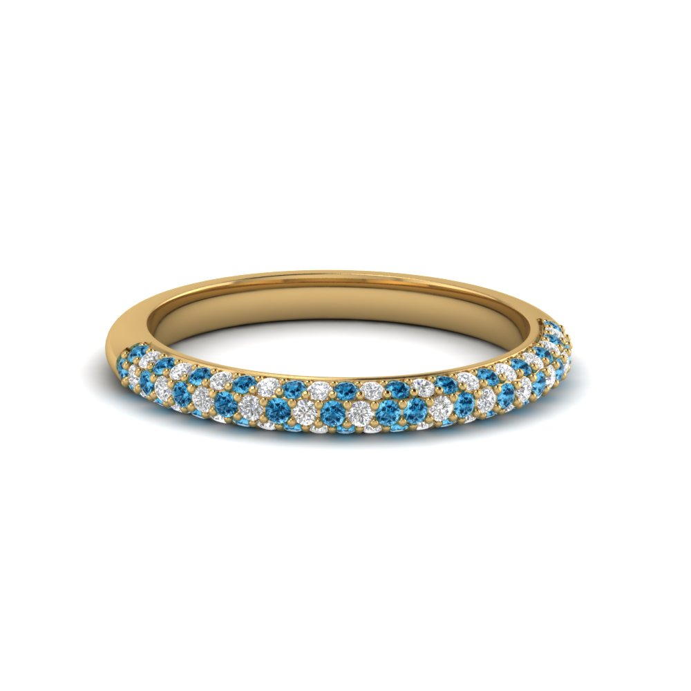 Trio Micropave Diamond Womens Wedding Band With Ice Blue Topaz In 14k Yellow Gold Fd68373bgicblto Nl