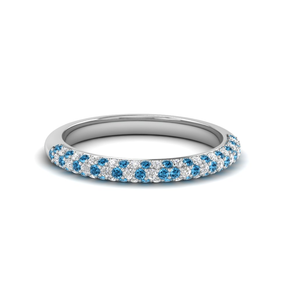 Trio Micropave Diamond Womens Wedding Band With Ice Blue Topaz In