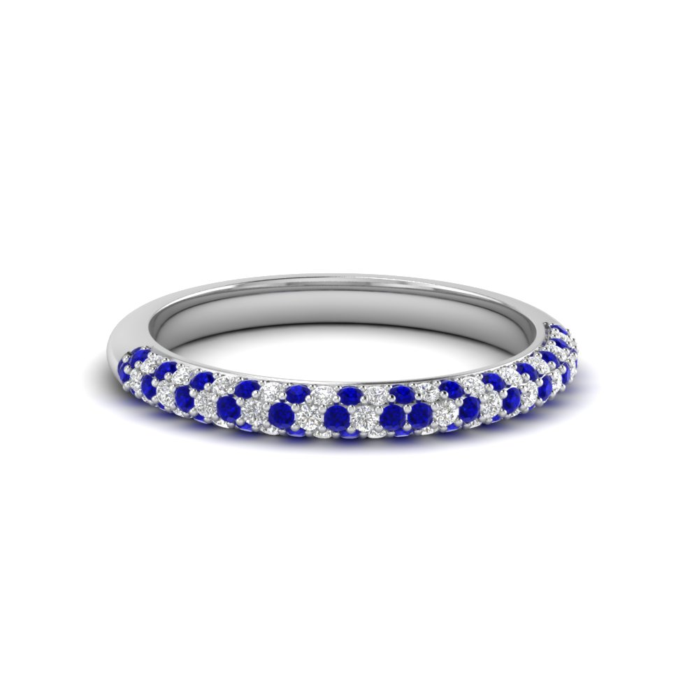trio micropave diamond womens wedding band with sapphire in 14K white gold FD68373BGSABL NL WG