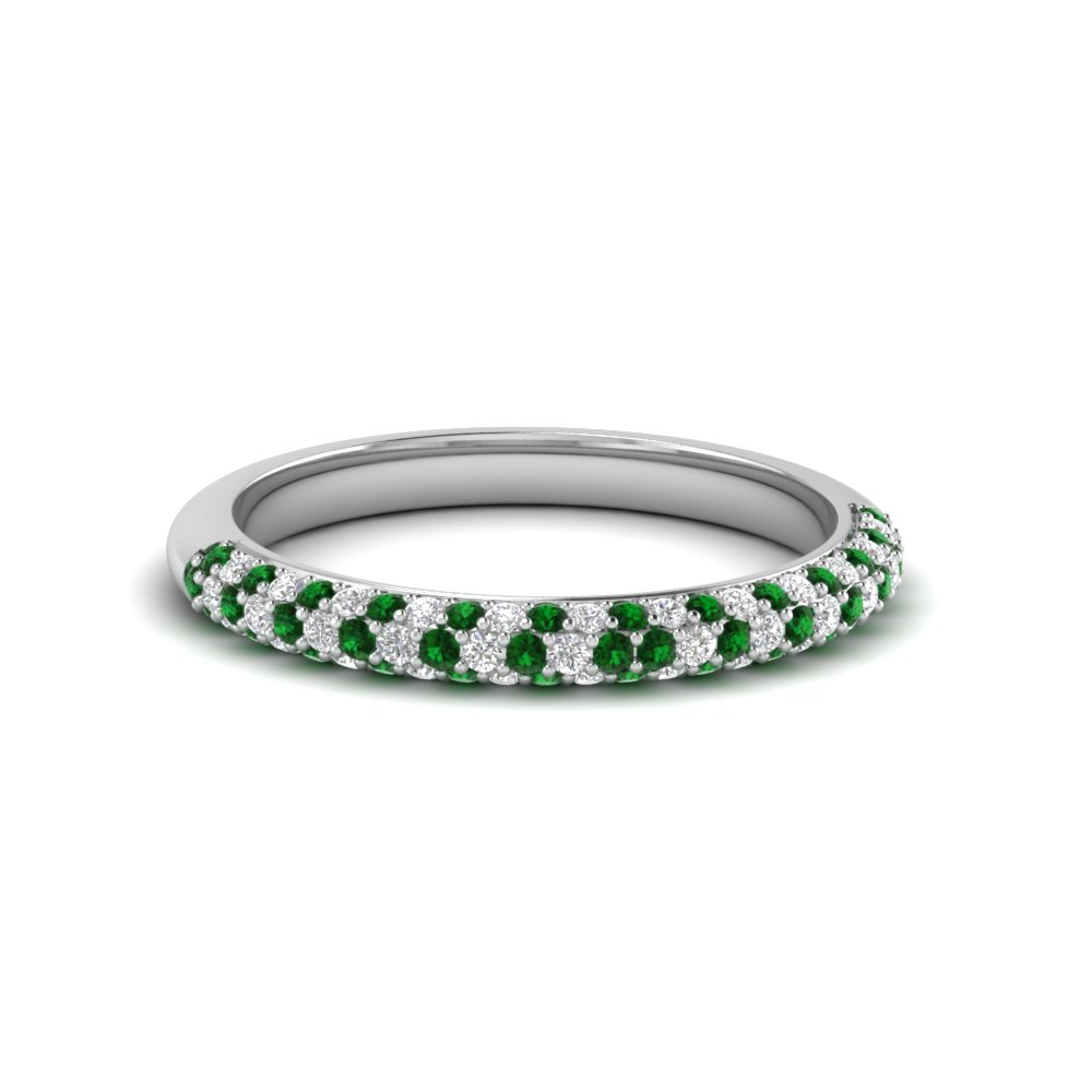 platinum step rings white engagement enr ring halo emerald pav engagment diamond wedding gold cut stem a pave in french