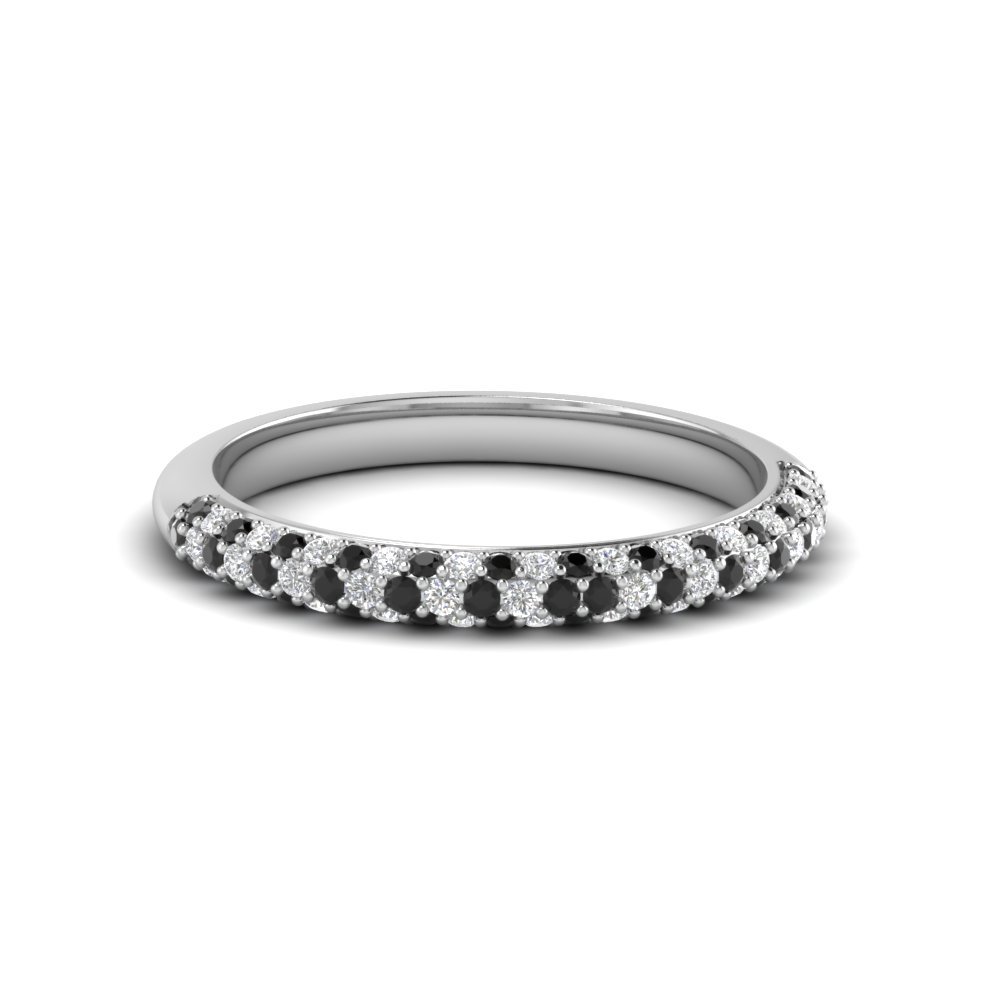 0086a4cc9 ... trio micropave womens wedding band in 14K white gold with black diamond  in 14K white gold