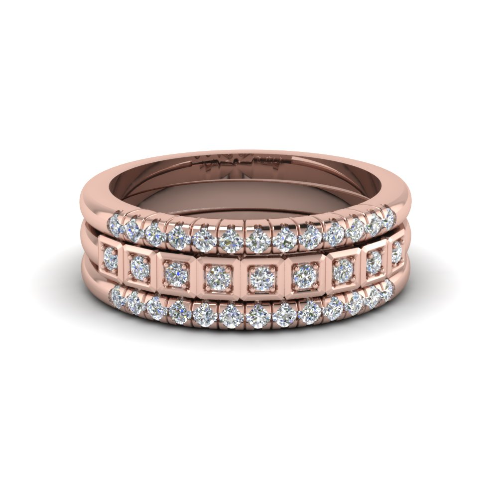 Pink Gold Stackable Rings With Diamonds