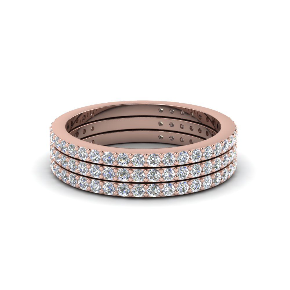 trio stack diamond wedding band in 14K rose gold FDENS1425B NL RG