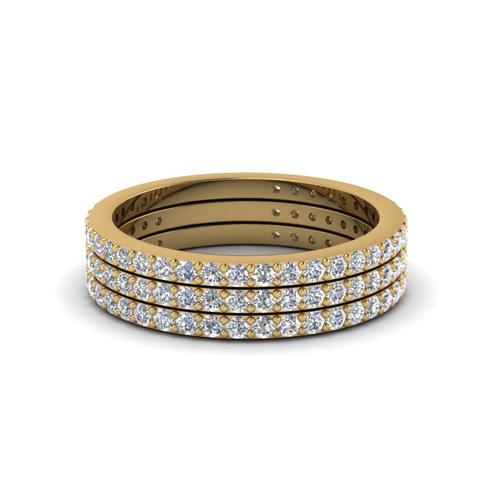 Thin Stackable Diamond Bands Yellow Gold