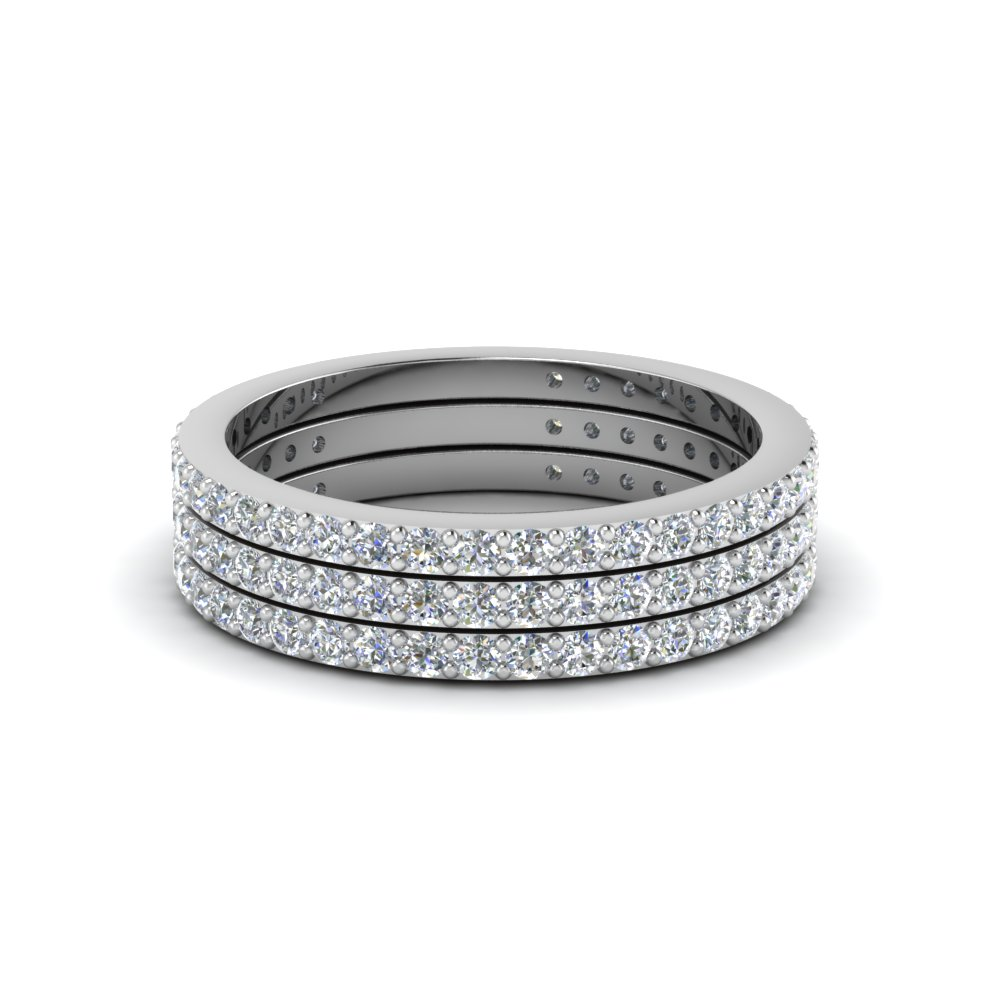 Trio Stack Diamond Platinum Band