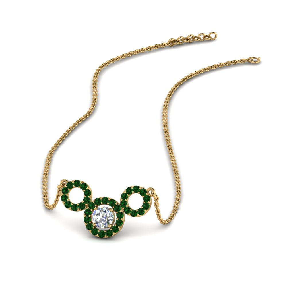 Emerald Triple Circle Necklace