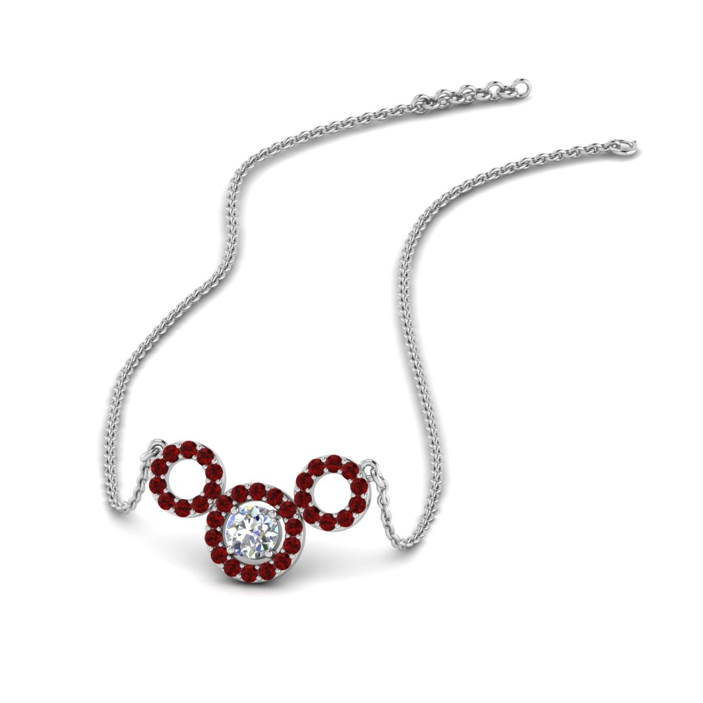 triple circle diamond pendant with ruby in FDPD8921GRUDR NL WG