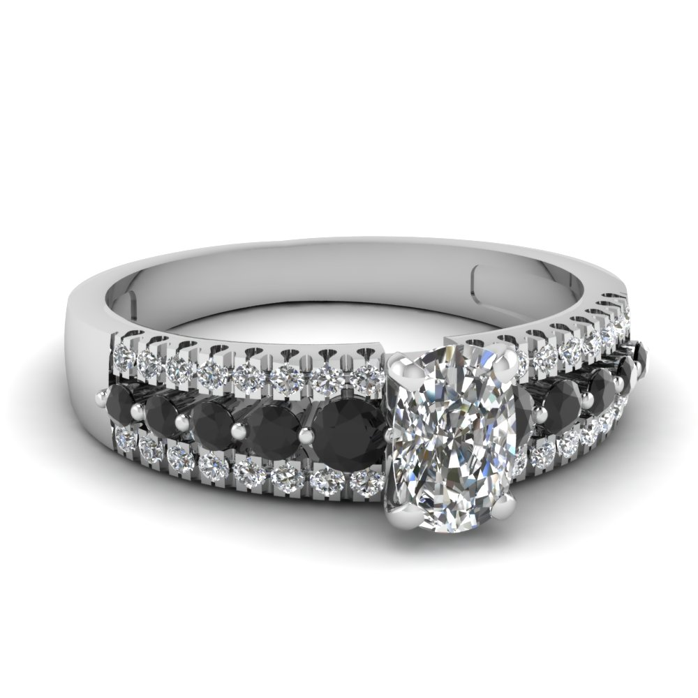 triple row cushion engagement ring with black diamond in FDENS3014CURGBLACK NL WG