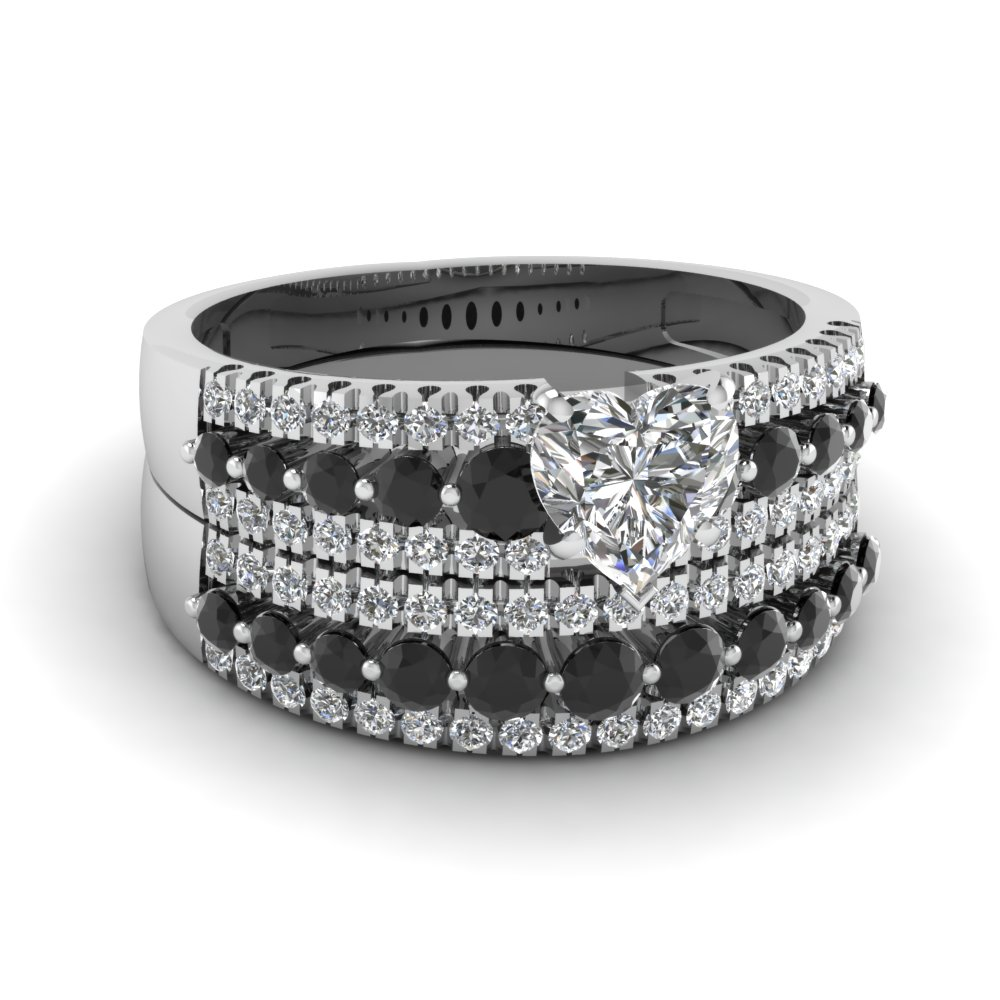 triple row heart wedding ring set with black diamond in FDENS3014HTGBLACK NL WG