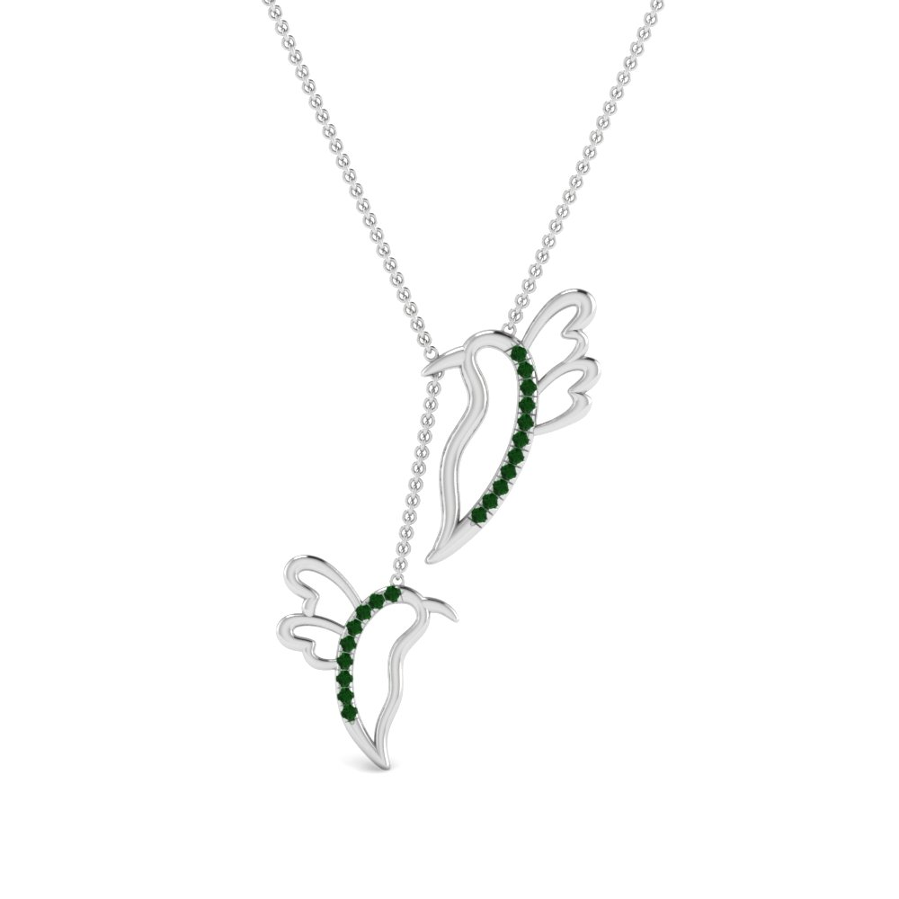 twin birds y emerald necklace in FDPD8925GEMGRANGLE1 NL WG
