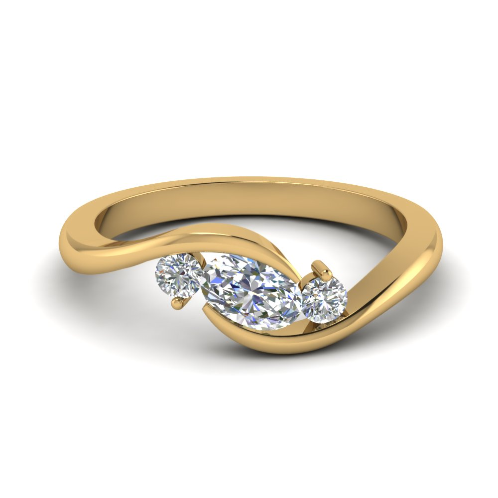 twist 3 stone engagement ring in FD8896 NL YG