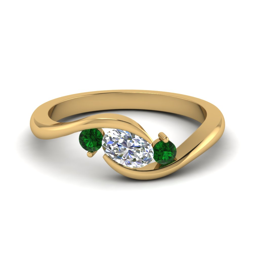 twist 3 stone engagement ring with emerald in FD8896GEMGR NL YG