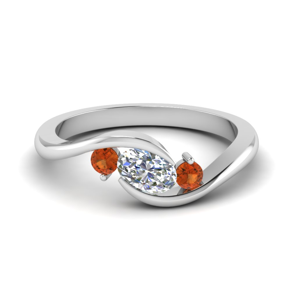 twist 3 stone engagement ring with orange sapphire in FD8896GSAOR NL WG