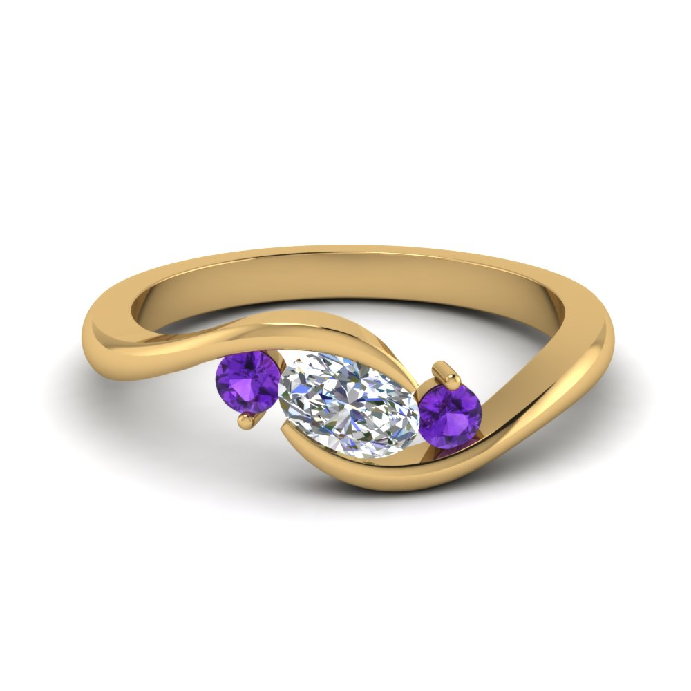 twist 3 stone engagement ring with purple topaz in FD8896GVITO NL YG