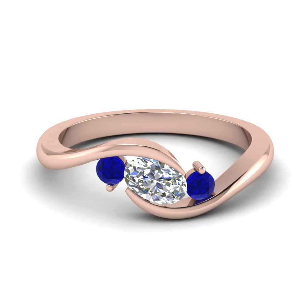 twist 3 stone engagement ring with sapphire in FD8896GSABL NL RG