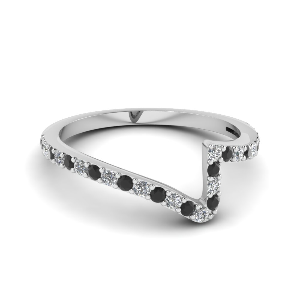 Platinum Black Diamond Wedding Band