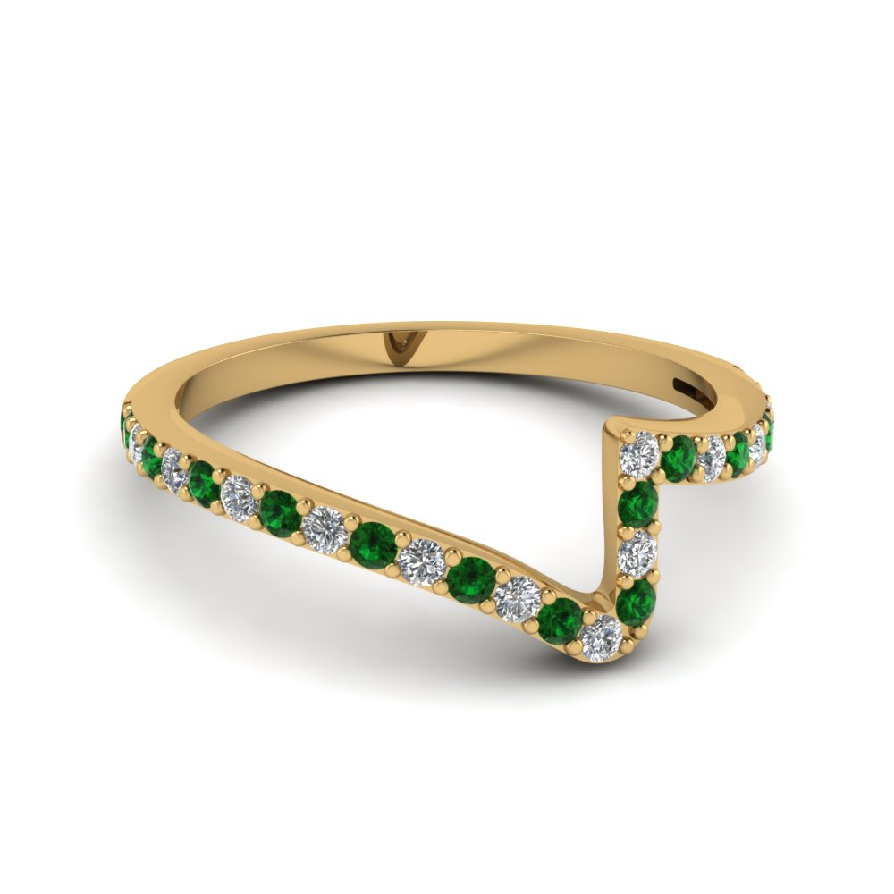 Pave Twist Emerald Wedding Band