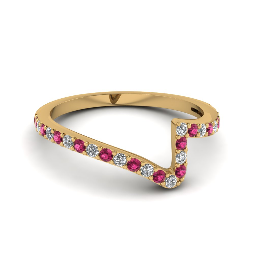 Pink Sapphire Twist Wedding Band