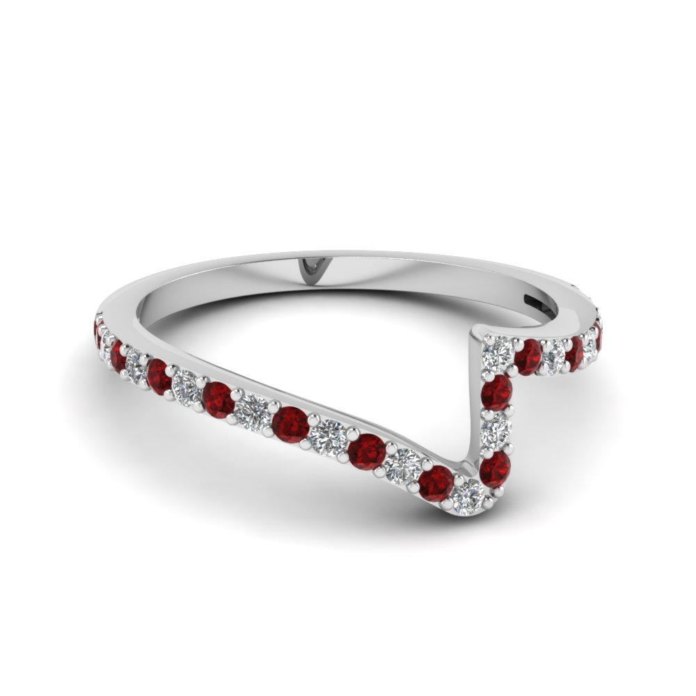 Accent Ruby Pave Wedding Band
