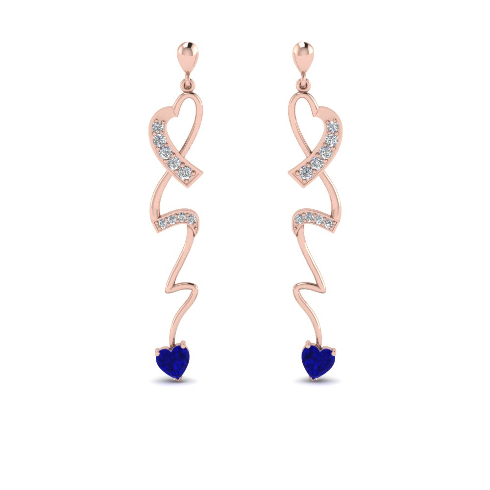 Twist Long Heart Drop Earring