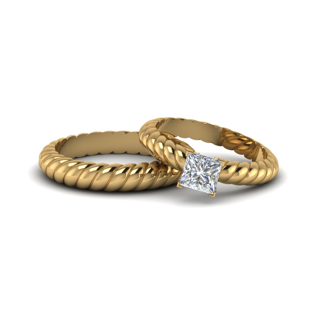 twist princess cut matching band for him and her in 14K yellow gold FD8181B NL YG