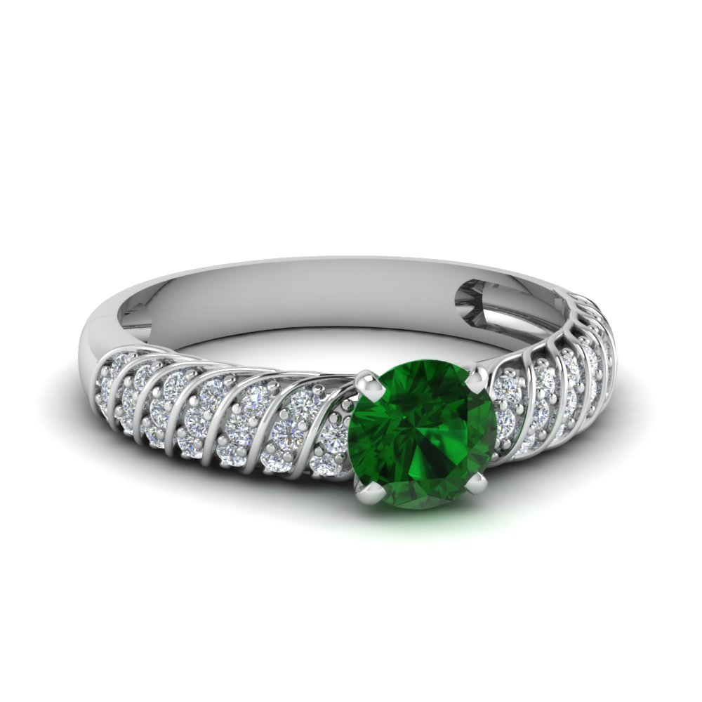 twist rope emerald engagement ring in FDENS3048RORGEM NL WG