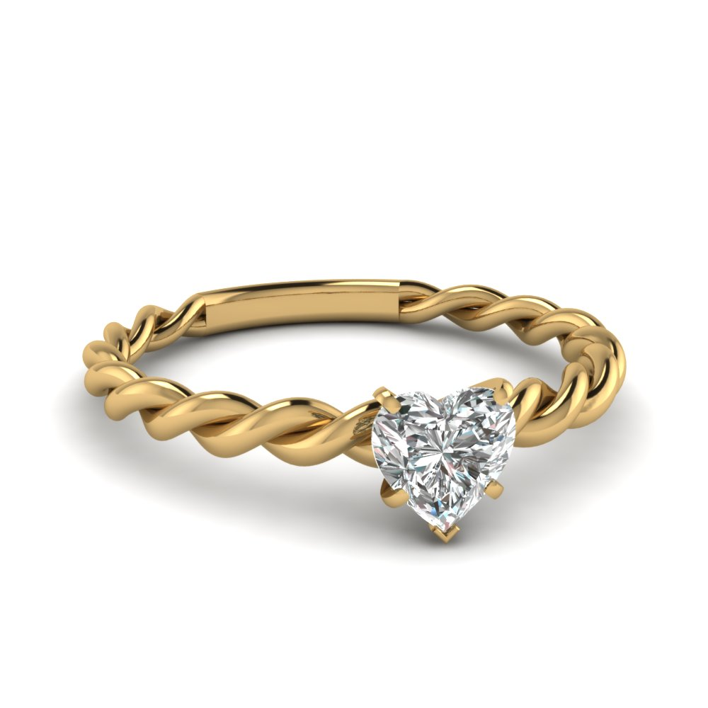 twisted 0.75 ct. heart shaped solitaire ring in 14K yellow gold FD1087HTR NL YG
