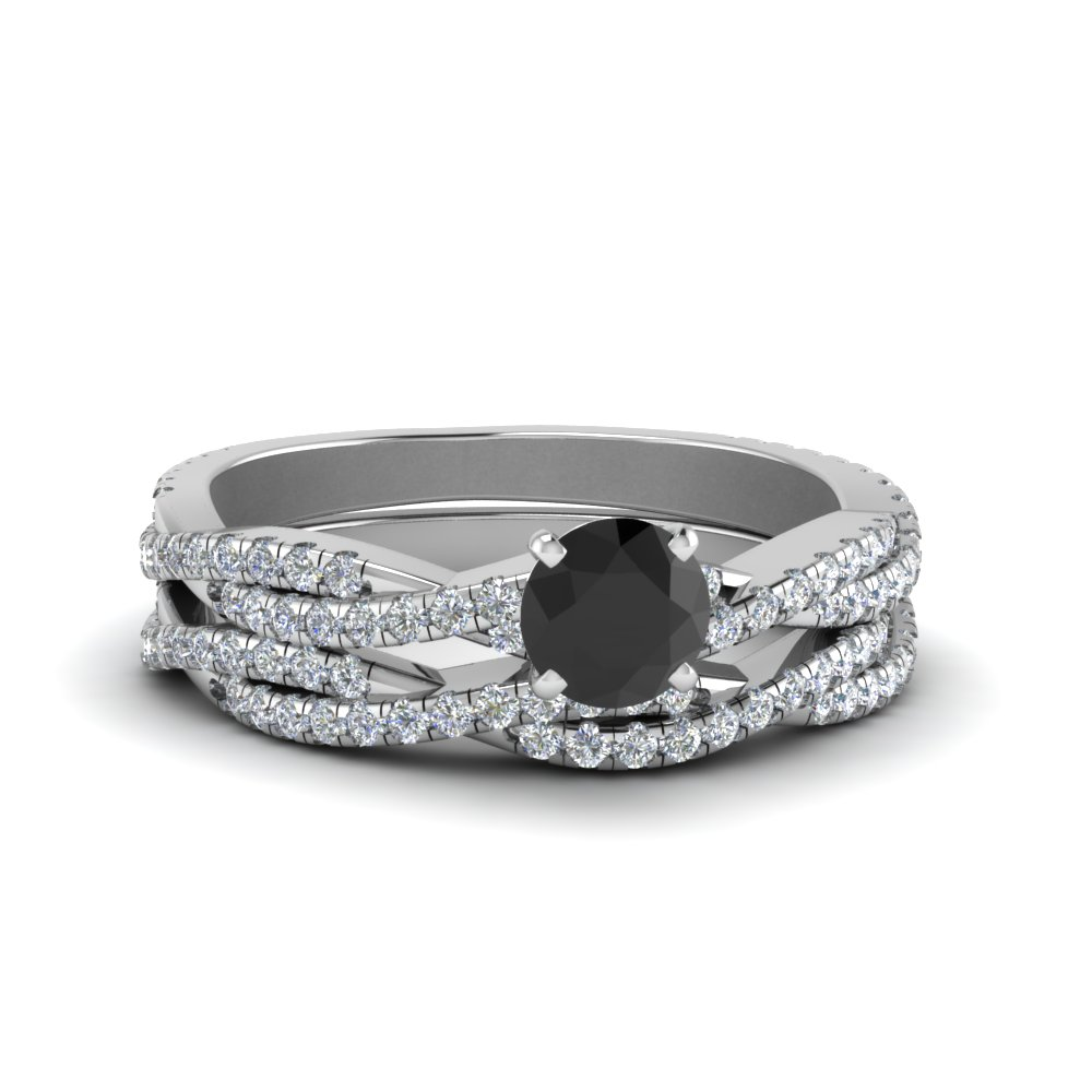 twisted black diamond bridal set in FD8233ROGBK NL WG