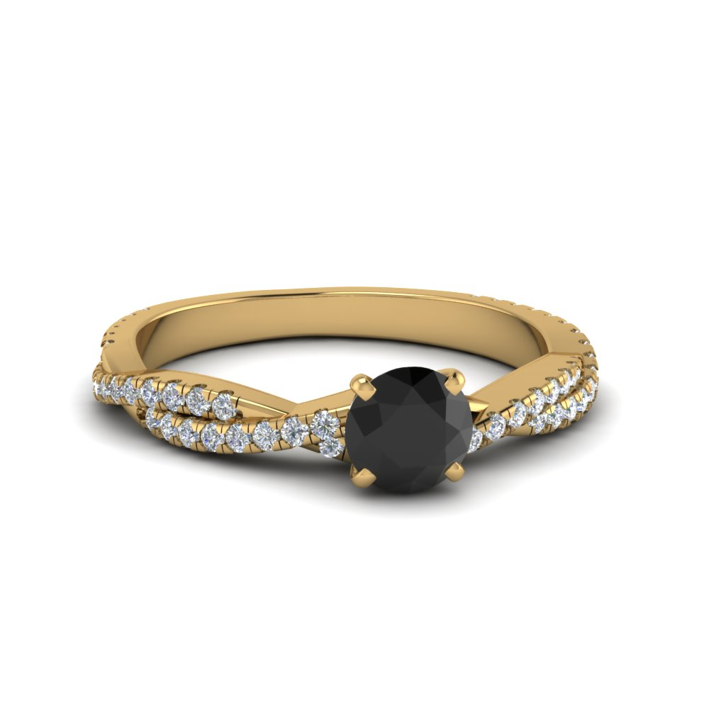 Black Diamond Twisted Engagement Ring