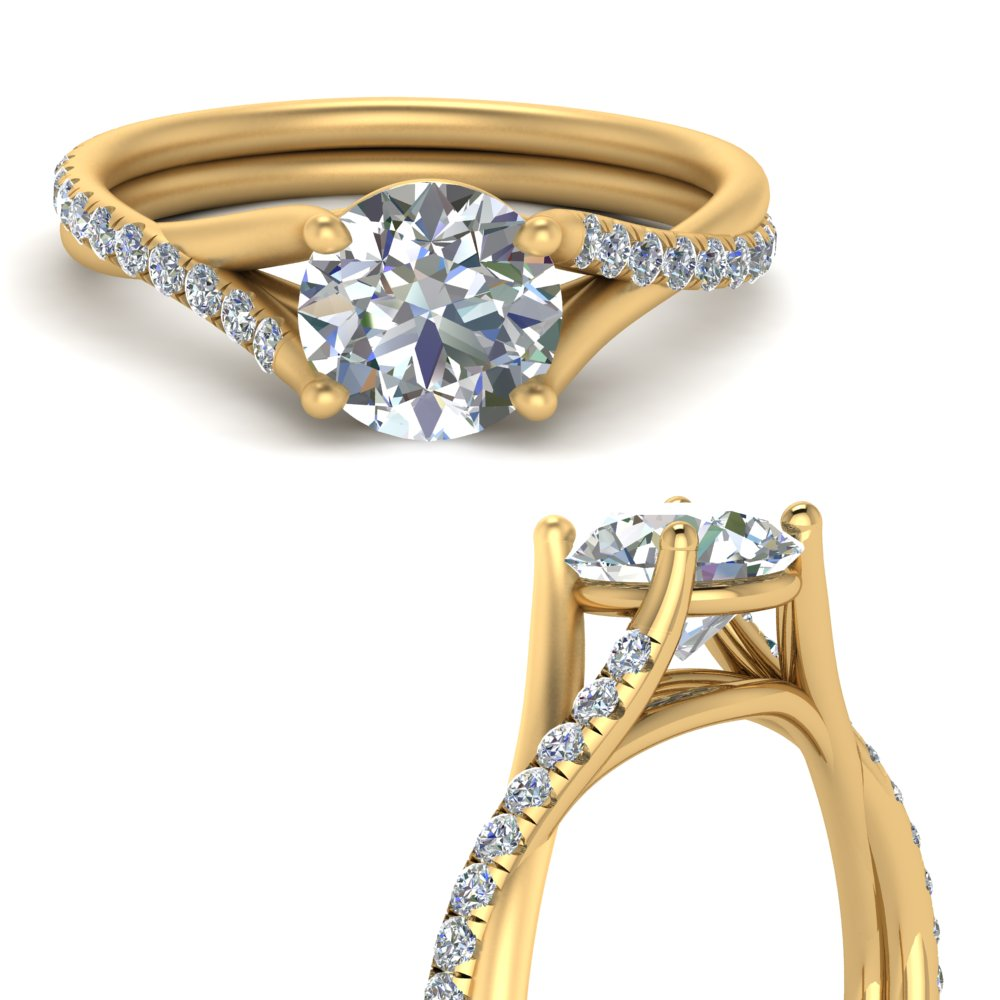 Cathedral Round Diamond Ring