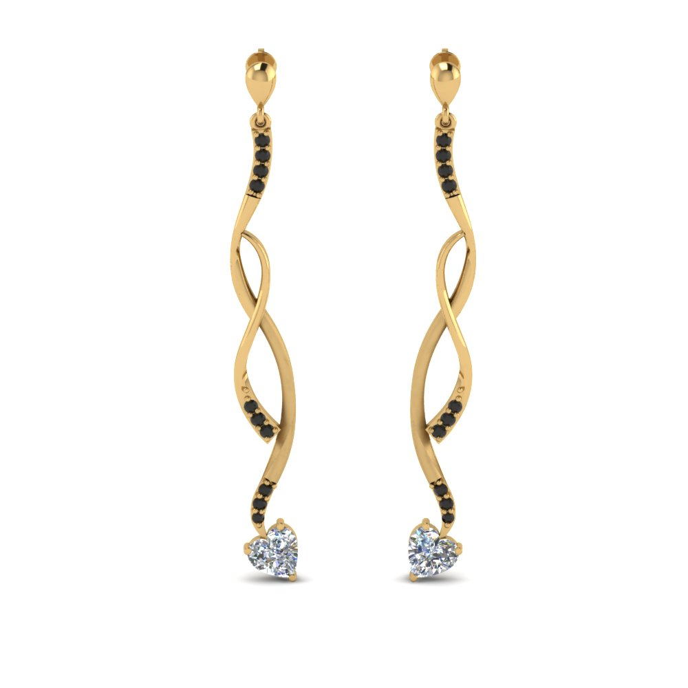 Yellow Gold Black Diamond Earring