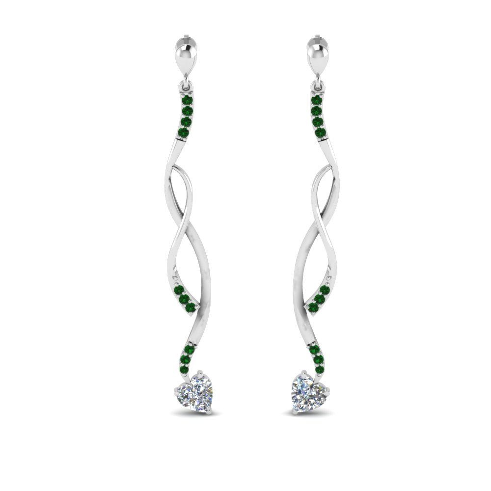 Emerald Twisted Drop Diamond Earring