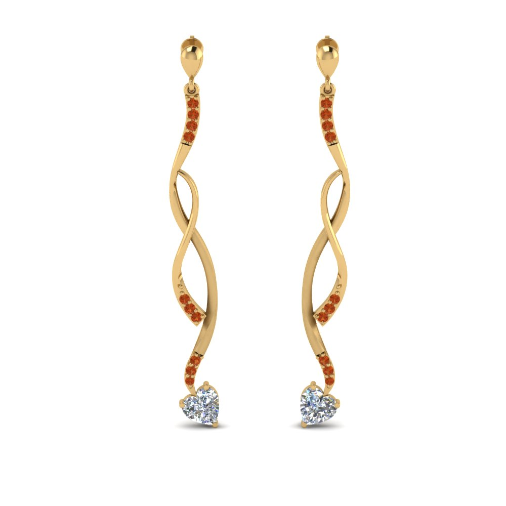 twisted-drop-heart-diamond-earring-with-orange-sapphire-in-FDEAR8806GSAOR-NL-YG