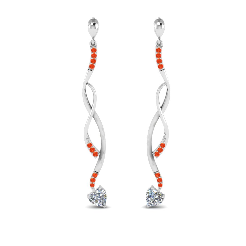 White Gold Orange Topaz Earring