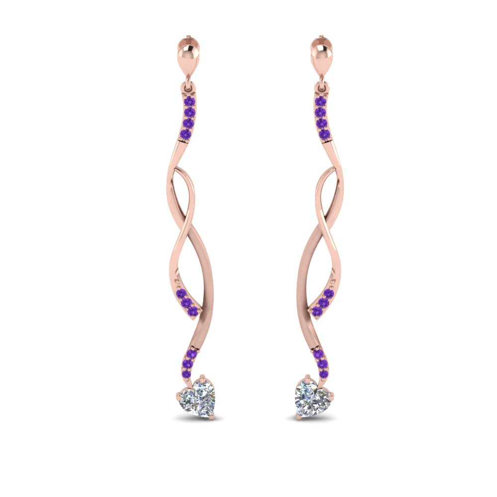 Rose Gold Purple Topaz Earring