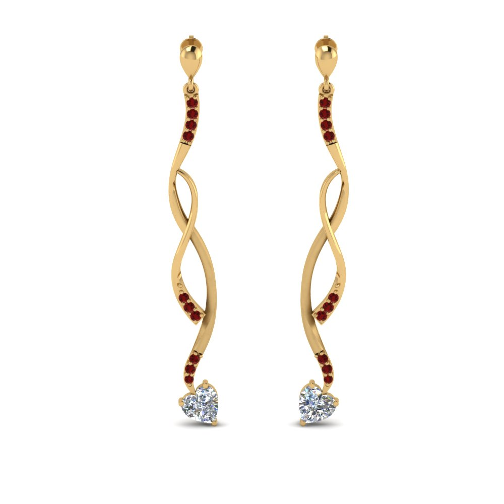 twisted-drop-heart-diamond-earring-with-ruby-in-FDEAR8806GRUDR-NL-YG