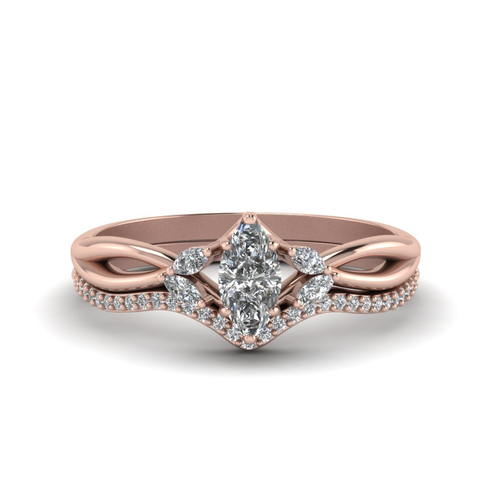 0537a98dc7 Twisted Marquise Cut Diamond Bridal Set In 18K Rose Gold ...
