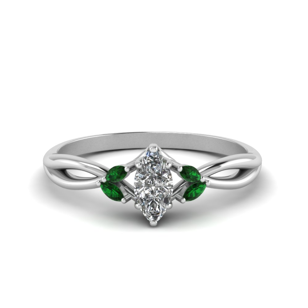 Twisted Petal Emerald Ring