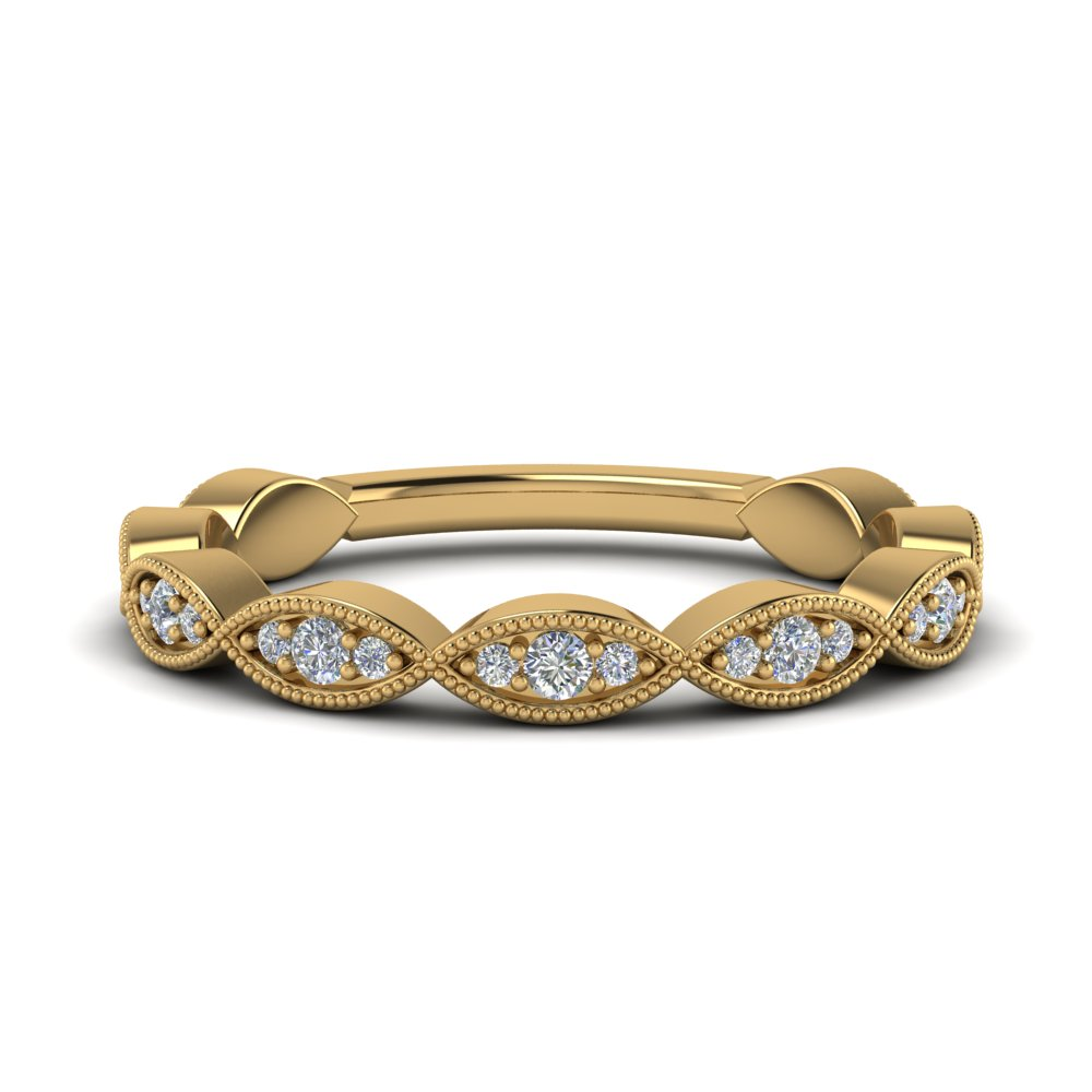 twisted milgrain diamond wedding band in 14K yellow gold FD123093B NL YG