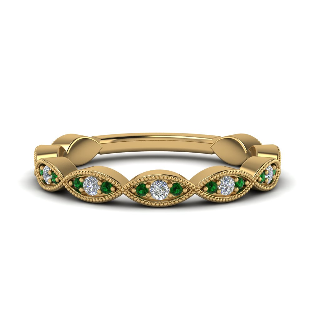Vintage Emerald Wedding Band