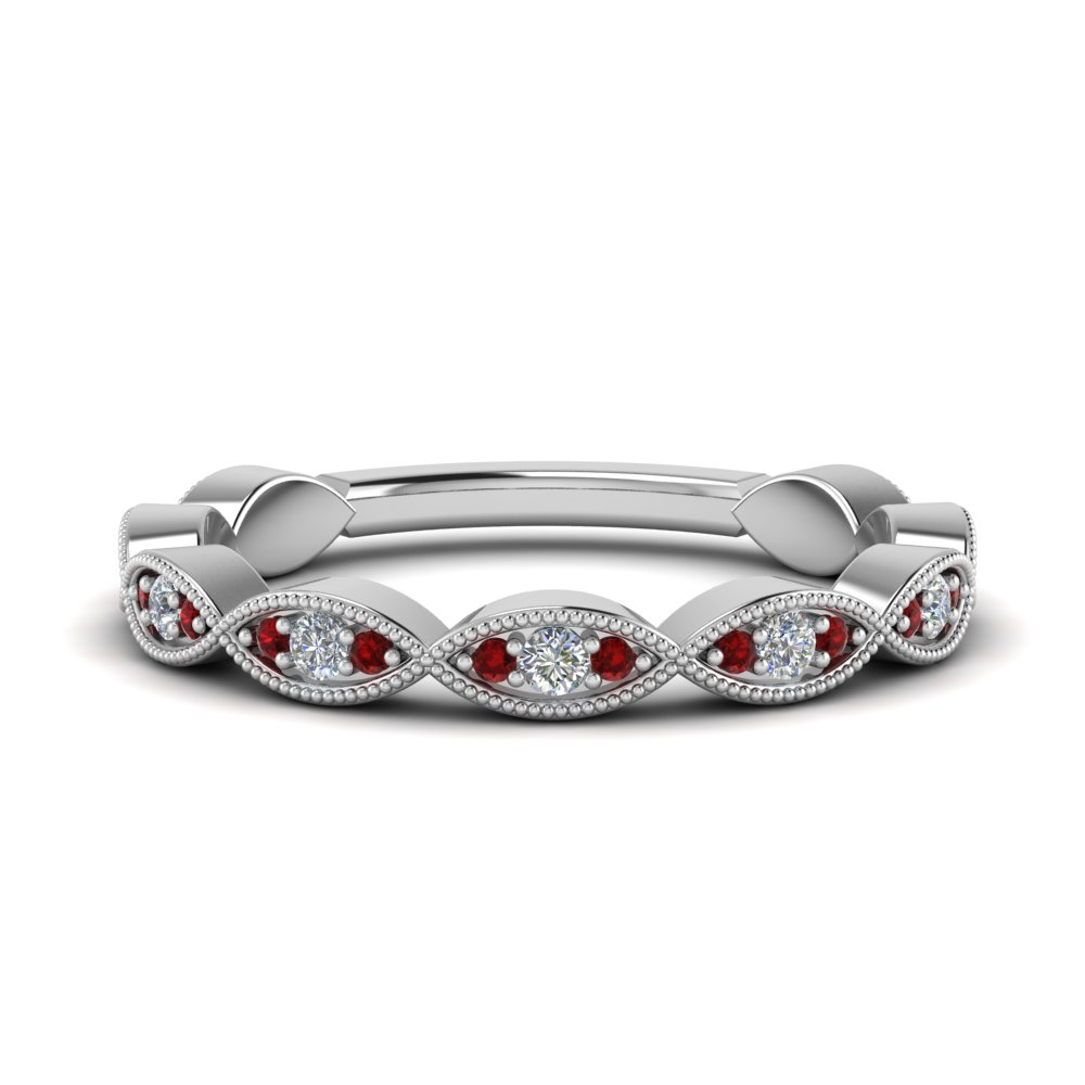 Twisted Milgrain Ruby Band
