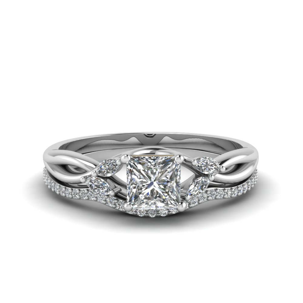 Twisted Princess Diamond Ring Set