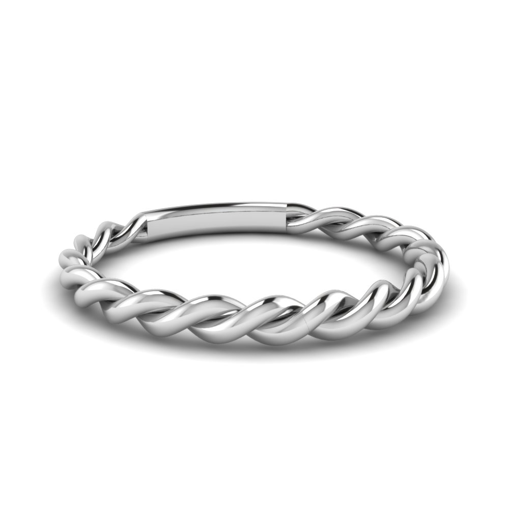 Twisted Rope Wedding Band In 18K White Gold